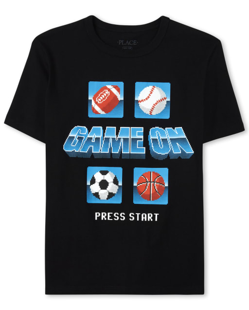 Boys Short Sleeve 'Game On' Sports Graphic Tee