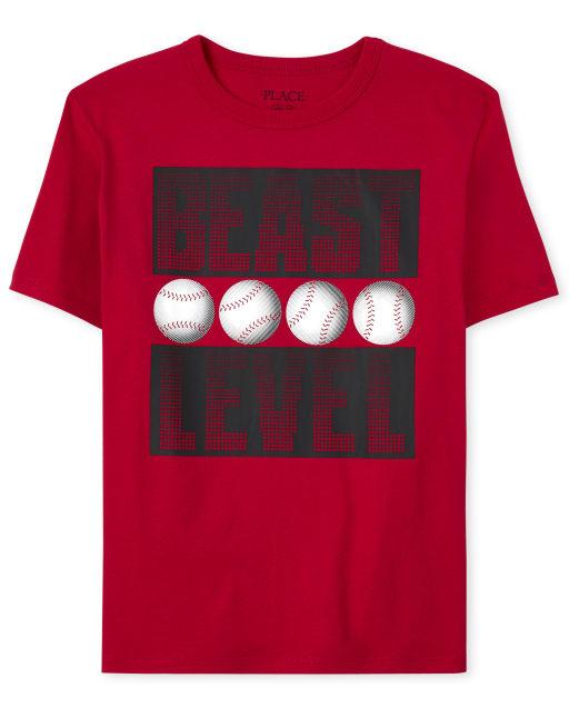 Boys Short Sleeve 'Beast Level' Baseball Graphic Tee
