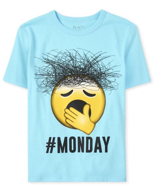 Boys Short Sleeve 'Hashtag Monday' Emoji Graphic Tee