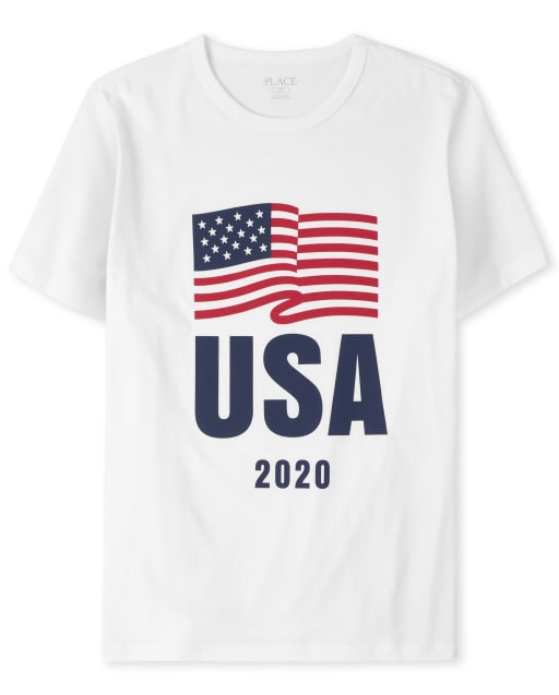 Mens Matching Family Americana Short Sleeve Olympics 'USA 2020' Flag Graphic Tee