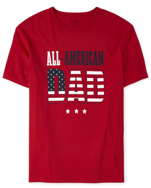 Mens Matching Family Americana Short Sleeve 'All American Dad' Flag Graphic Tee