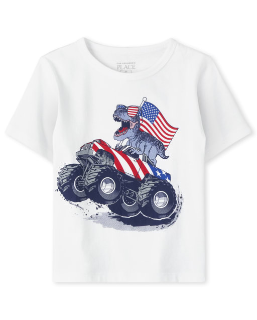 Baby And Toddler Boys Americana Short Sleeve Monster Truck Dino Graphic Tee