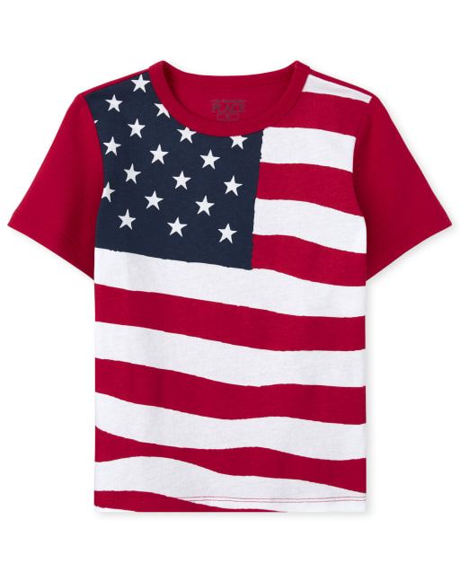 Baby And Toddler Boys Americana Short Sleeve Flag Matching Graphic Tee
