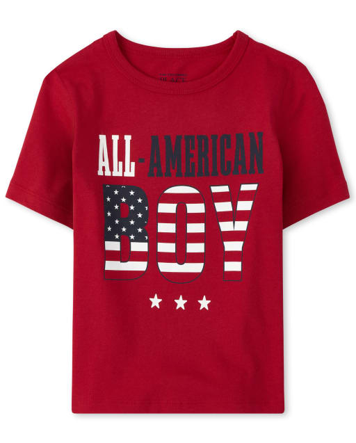 Baby And Toddler Boys Matching Family Americana Short Sleeve 'All American Boy' Flag Graphic Tee