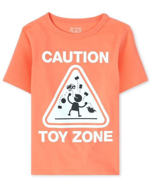 Baby And Toddler Boys Short Sleeve 'Caution Toy Zone' Graphic Tee