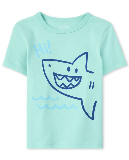 Baby And Toddler Boys Short Sleeve 'Hi' Shark Graphic Tee