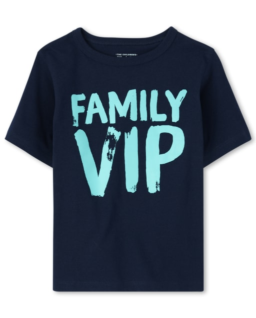 Baby And Toddler Boys Short Sleeve 'Family VIP' Graphic Tee