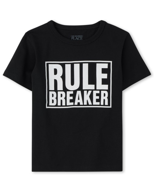 Baby And Toddler Boys Short Sleeve 'Rule Breaker' Graphic Tee