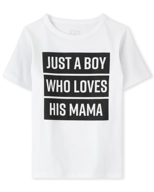 Baby And Toddler Boys Short Sleeve 'Just A Boy Who Loves His Mama' Graphic Tee