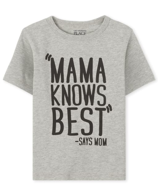 Baby And Toddler Boys Short Sleeve 'Mama Knows Best Says Mom' Graphic Tee