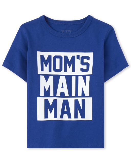 Baby And Toddler Boys Short Sleeve 'Mom's Main Man' Matching Graphic Tee