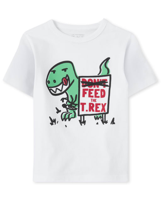 Baby And Toddler Boys Short Sleeve 'Feed The T Rex' Dino Graphic Tee