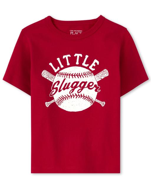 Baby And Toddler Boys Short Sleeve 'Little Slugger' Baseball Graphic Tee