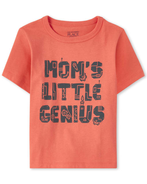 Baby And Toddler Boys Short Sleeve 'Mom's Little Genius' Graphic Tee