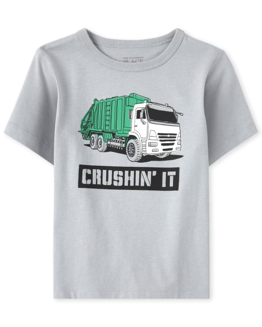 Baby And Toddler Boys Short Sleeve 'Crushin' It' Truck Graphic Tee