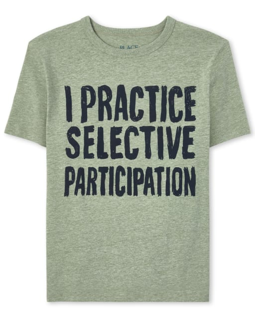 Boys Short Sleeve 'I Practice Selective Participation' Graphic Tee