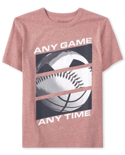 Boys Short Sleeve 'Any Game Any Time' Sports Graphic Tee