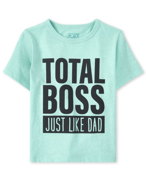 Baby And Toddler Boys Short Sleeve 'Total Boss Just Like Dad' Graphic Tee