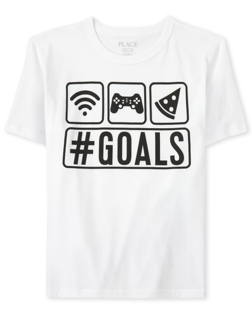 Boys Short Sleeve 'Hashtag Goals' Pizza Wifi And Video Games Graphic Tee