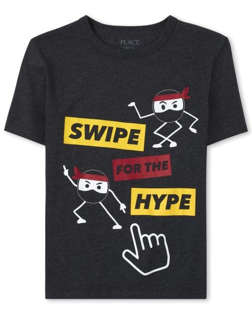 Boys Short Sleeve 'Swipe For The Hype' Ninja Graphic Tee