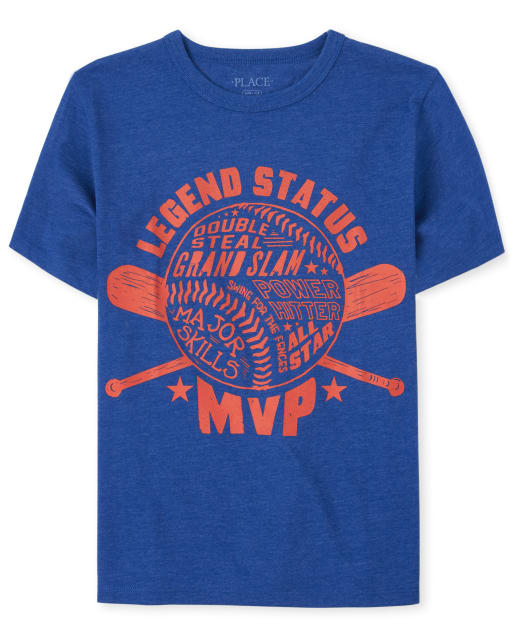 Boys Short Sleeve 'Legend Status MVP' Baseball Graphic Tee