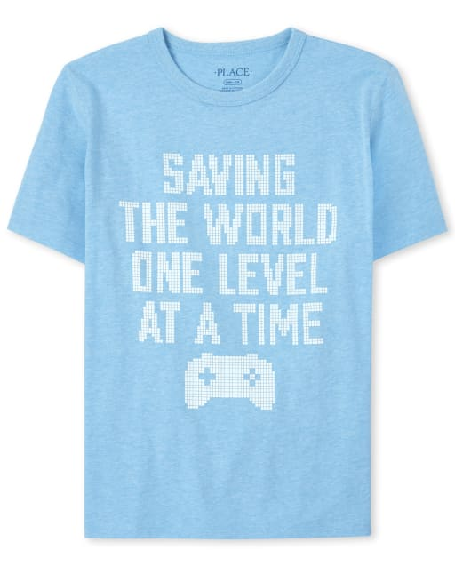 Boys Short Sleeve 'Saving The World One Level At A Time' Graphic Tee