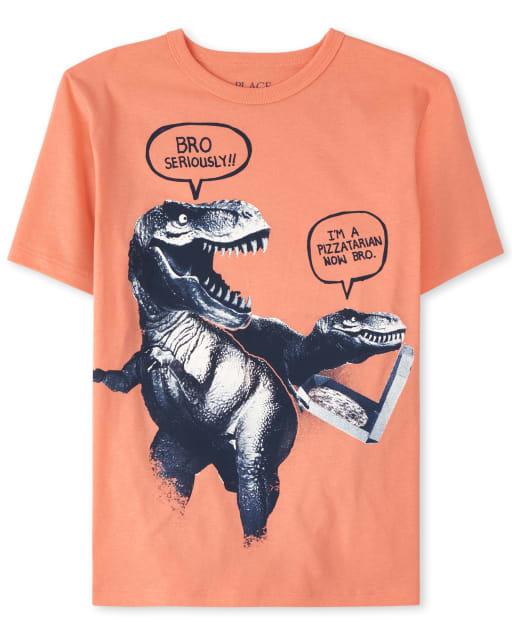 Boys Short Sleeve Pizza Dino Graphic Tee