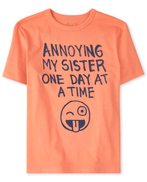 Boys Short Sleeve 'Annoying My Sister One Day At A Time' Graphic Tee
