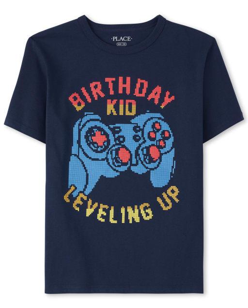Camiseta estampada de videojuego de cumpleaños para niños