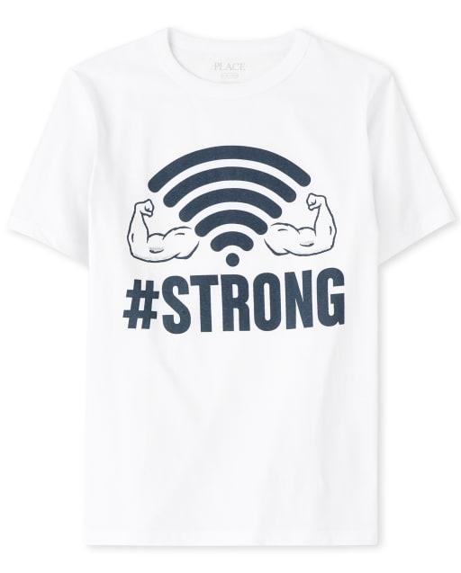 Boys Short Sleeve 'Hashtag Strong' Wifi Graphic Tee