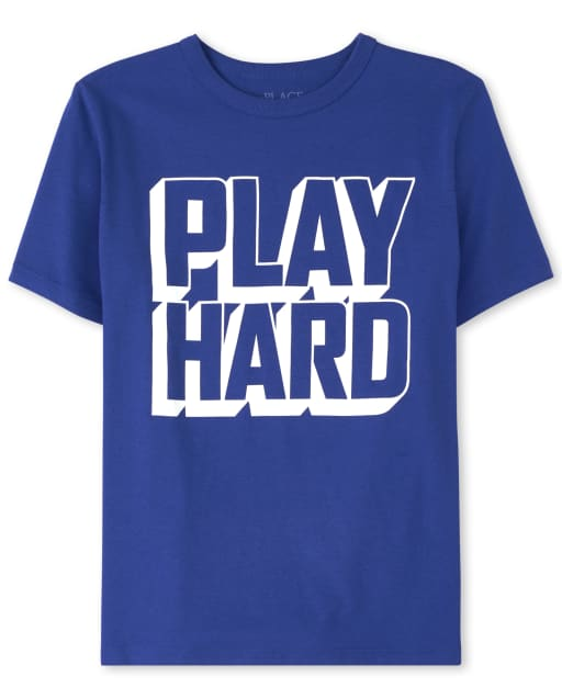Boys Short Sleeve 'Play Hard' Graphic Tee