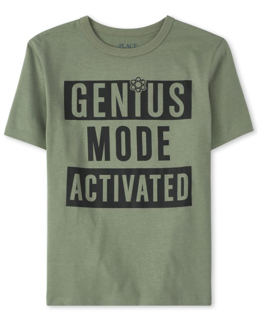 Boys Short Sleeve 'Genius Mode Activated' Graphic Tee