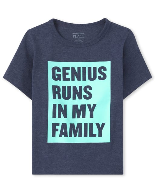 Baby And Toddler Boys Short Sleeve 'Genius Runs In The Family' Graphic Tee