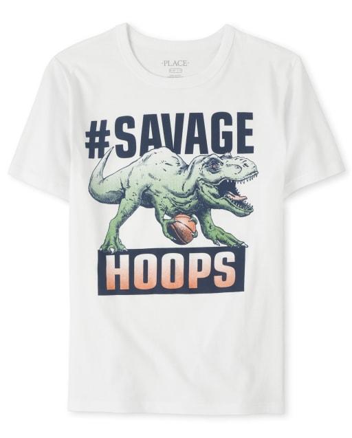 Boys Short Sleeve 'Hashtag Savage Hoops' Basketball Dino Graphic Tee