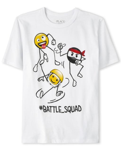 Boys Short Sleeve 'Hashtag Battle Squad' Swirl Ninja Emoji Graphic Tee