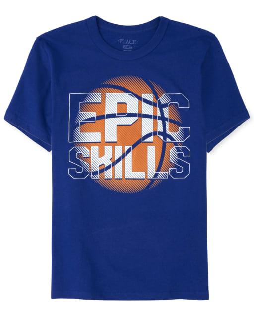Boys Short Sleeve 'Epic Skills' Basketball Graphic Tee