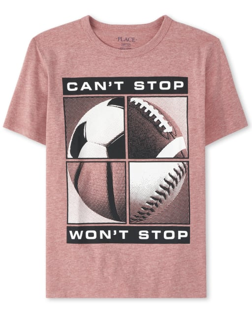 Boys Short Sleeve 'Can't Stop Won't Stop' Sports Graphic Tee