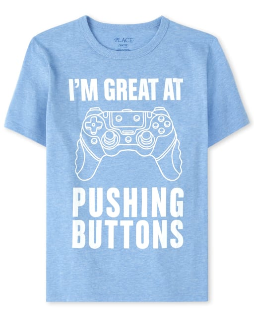 Boys Short Sleeve 'I'm Great At Pushing Buttons' Video Game Graphic Tee