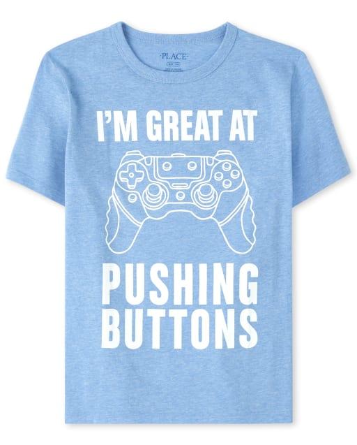 Camiseta de manga corta para niños ' I ' m Excelente para presionar botones ' Camiseta gráfica de videojuegos