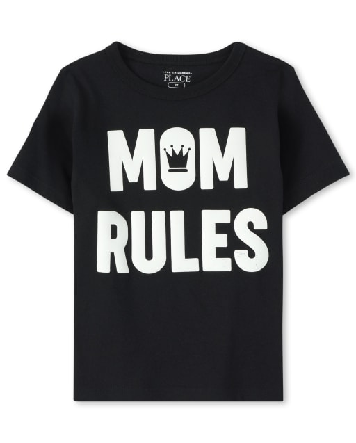 Baby And Toddler Boys Short Sleeve 'Mom Rules' Graphic Tee