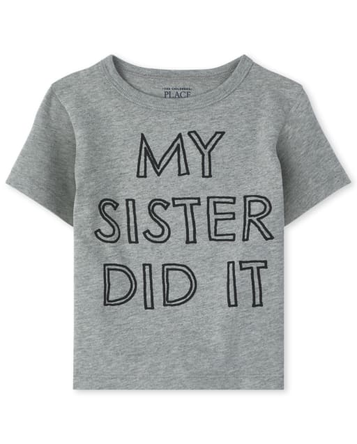 Baby And Toddler Boys Short Sleeve 'My Sister Did It' Graphic Tee