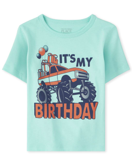 Baby And Toddler Boys Short Sleeve 'It's My Birthday' Monster Truck Graphic Tee