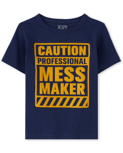 Baby And Toddler Boys Short Sleeve 'Caution Professional Mess Maker' Graphic Tee