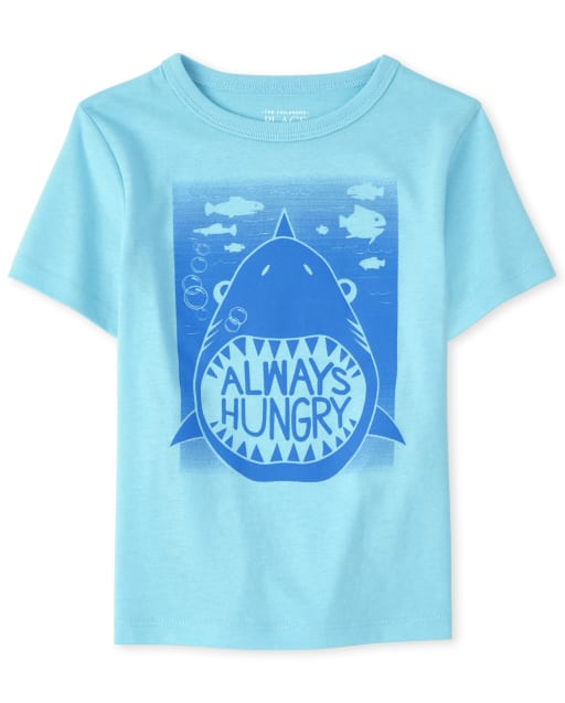 Baby And Toddler Boys Short Sleeve 'Always Hungry' Shark Graphic Tee