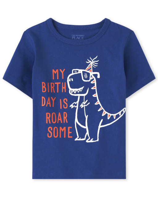 Camisetas de manga corta para bebés y niños pequeños ' My Birthday Is Roar Some ' Dino Graphic Tee