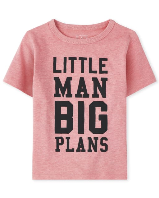 Baby And Toddler Boys Short Sleeve 'Little Man Big Plans' Graphic Tee