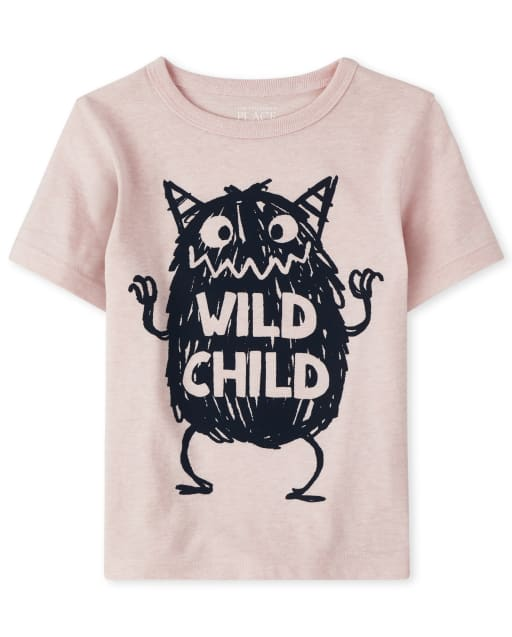 Baby And Toddler Boys Short Sleeve 'Wild Child' Monster Graphic Tee
