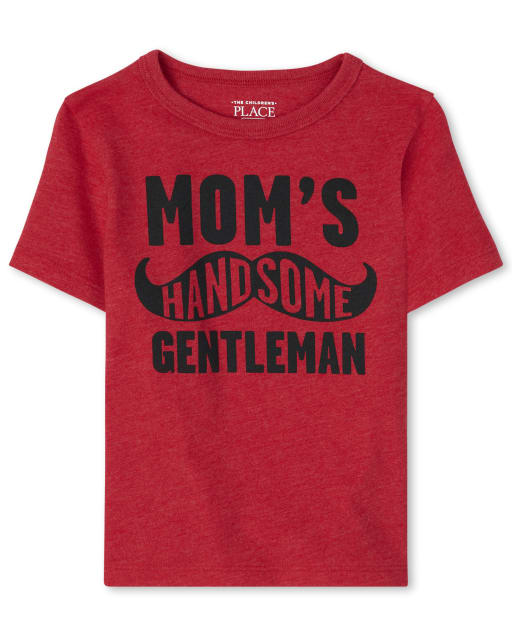Baby And Toddler Boys Short Sleeve 'Mom's Handsome Gentleman' Mustache Graphic Tee