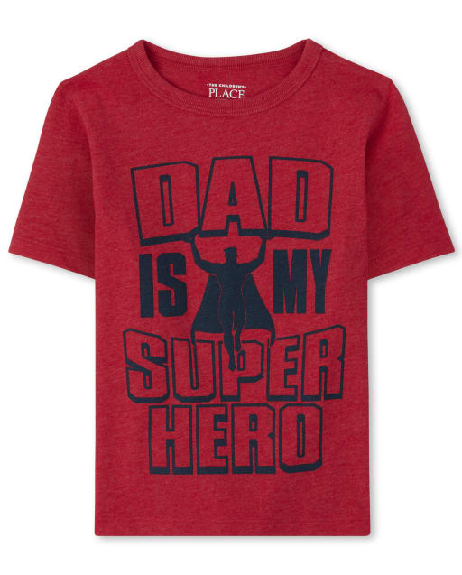 Baby And Toddler Boys Short Sleeve 'Dad Is My Superhero' Graphic Tee