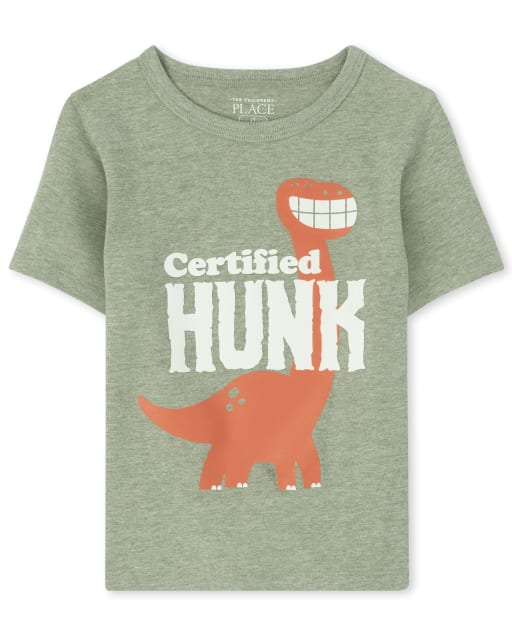 Baby And Toddler Boys Short Sleeve 'Certified Hunk' Dino Graphic Tee